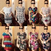 Korea Ladies Women O-neck Short Sleeve Loose Varieties of Style Dress for Your Choice