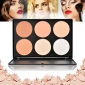 6 Colors Professional Salon Party Face Concealer Trimming Blush Eye Shadow Powder Makeup Palette