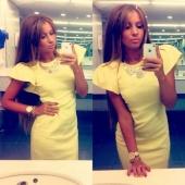 Fashion Women's O-neck Bodycon Short Sleeve Office Casual Dress Yellow