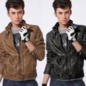 Korean Vintage Style Men Long Sleeve Stand Neck Motorcycle Coat PU Leather Zipper Warm Overcoat Jacket
