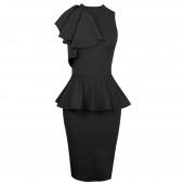 Women New Fashion Sleeveless Ruffle Side Bodycon Midi Party Evening Dress