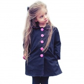 Fashion Children Girls Peter Pan Collar Long Sleeve Single-breasted A-Line Coat Jacket Outwear