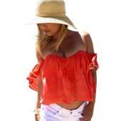 Women Fashion Sexy Casual Loose Chiffon Strapless Off Shoulder Backless Padded Lace Trimming Solid Crop Tops