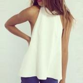 Women Fashion Sleeveless Off Shoulder Sexy Backless Chiffon Casual Top Blouse Shirt