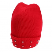 Fashion Ladies Women Winter Rivets Knitting Girl Cap