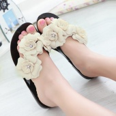 Fashion Women's Casual Rubber Camellia Slippers Summer Flowers Flip-flops Shoes Flat Sandals