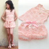 Summer Sweet Soft Baby Girl Pink Rose Pattern Tops And Shorts
