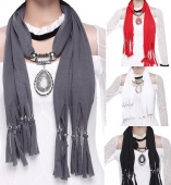 Fashion Women Tassel Drop Resin Beads Pendant Necklace Scarf Shawl Soft Necklaces