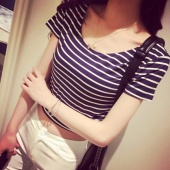 Sexy Women O-Neck Short Sleeve Leopard Crop Tops Stripe Short Stretch T-Shirt Tops