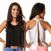 Stylish Lady Women Sexy Sleeveless Tank Tops Backless Back Split Casual Club Blouse