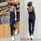 Womens Long Denim Leisure Jeans Jumpsuits Strap Trousers Bib Pants Overalls