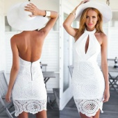 Women's Fashion Sexy Lace Crochet Patchwork Off Shoulder Backless Slim Dress