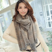 Stylish New Women's Plaid Pattern Winter Warm Thickening Long Scarf Tassels Shawl