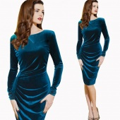 Lady Women's New Fashion Elegant Ruched Party Cocktail Bodycon Pencil Sheath Dress