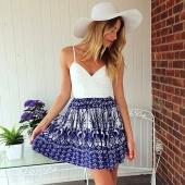 Women's Fashion Sleeveless Sexy V-Neck Casual Spaghetti Strap Vintage Style Dress