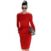 Stylish Lady Women's Casual New Fashion Long Sleeve O-neck Sexy Stretch Dress