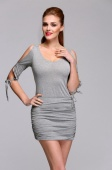 European Style Women Fashion Package Hip Off-shoulder V-neck Sexy Stretch Bodycon Dress