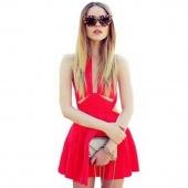 Stylish Lady Women's New Fashion Waist Hollow Sleeveless O-neck Sexy Stretch Dress