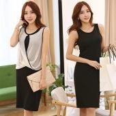Fashion Women's Elegant Stretchable Dress Two Pieces Set Sleeveless Chiffon Blouse Top + Slim Black Dress