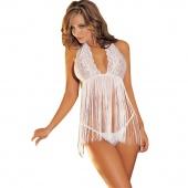 Stylish Women Sexy Pajamas Dress Sweet Halter Tassels Flowers Perspective Tops + G-string White Underwear