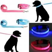 Bright Flashing LED Light Pet Night Safety Adjustable Nylon Dog Collar Leash