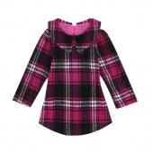 Cute Kids Girls Doll Collar Pullover Long Sleeve Plaid Slim Long Outwear Coat