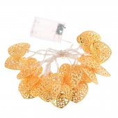 2M 20 Warm White LED Heart Shape String Lights Outdoor Garden Party Gold