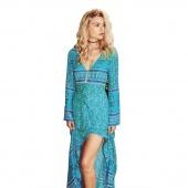 Autumn Summer Fashion European Style Ladies Women Long Sleeve Printed Floral Dress Blue