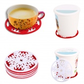 DIY round Heat Insulated Flower Hollow Out Coffee Tea Cup Mat Drink Pad 5 Pack