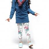 Cute Kids Girls Fashion Flowers Print Skinny Pants Bottoms Leggings