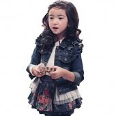 Kids Girl's Autumn Wear Long Sleeve Denim Jacket Coat
