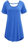 Blue Comfy Short Sleeve Basic Long T-shirt