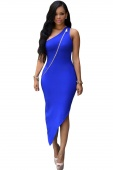 Blue Single-shoulder Zipped Asymmetric Dress