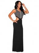 Black Striped Open Cut-Out Maxi Dress