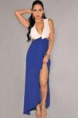 White Blue Cut-Out Side Slit Maxi Dress