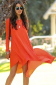 Orange Dipped Hemline Chiffon Maxi Dress