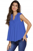 Blue Embroidered Applique V Neck Blouse Top