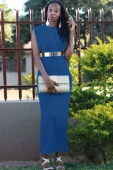 Blue Belted Sexy Sleeveless Maxi Dress