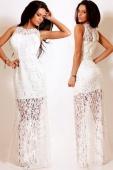 Lace Satin Patchwork Party Maxi Dress