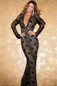 Black Plunge V Lace Maxi Dress with Scoop Back