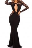 Long Sleeve Lace Cut-out Floor Length Black Maxi Dress
