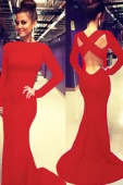 Red Sleeved Floor-length Dress with Cutout Back