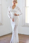 Plunging V Neck Front Tie White Lace Maxi Dress