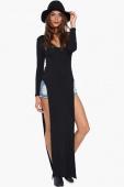 Casual T-shirt Style Side Split Black Maxi Dress