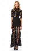 Black High Slit V Back Lace over Maxi Dress