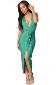 Draped Slit Front Maxi Dress