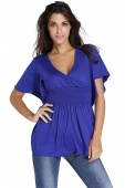 Blue V-Neck Short Batwing Sleeve High Elastic Waist Blouse