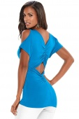 Blue Ruched Open Back Cold Shoulder Top