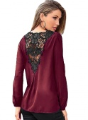 Stylish Crochet Back Wrap Front Burgundy Blouse