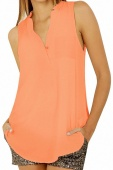 Light Orange Button V Neck Sleeveless Chiffon Blouse